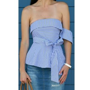 J.O.A striped with one shoulder top